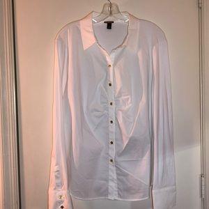 Dana Buchman 2X(20/22) White Stretch Shirt, Long S